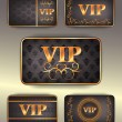 Set of gold vip cards with pattern — Stock Vector