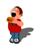 Boy and hamburger — Stock Vector