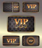 Set di carte di vip oro con motivo — Vettoriale Stock