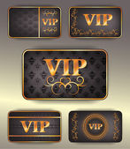 Set of gold vip cards with pattern — Stockvector