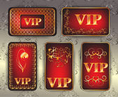 Set of gold vip cards — Stock Photo