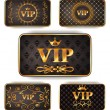 Stock Vector: Gold vip cards with pattern