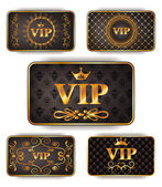 Gold vip cards with pattern — Stock Vector