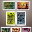 Vintage post stamps — Stok Vektör