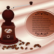 Coffee mill with coffee beans beige — Stok Vektör