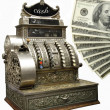 Old fiscal cash office with dolars — Stock Photo