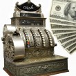 Old fiscal cash office with dolars - Stock Photo
