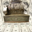 Old fiscal cash office with dollars, — Stock Photo