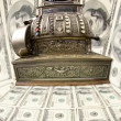 Old fiscal cash office with dollars, - Stock Photo