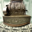 Old fiscal cash office with money — Stock Photo