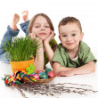Girl and boy with Easter decoration — Stock Photo