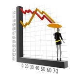 3d woman with 3d chart and umbrella — ストック写真
