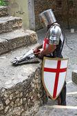 Cavaliere in armatura con scudo e spada su sfondo marrone — Foto Stock
