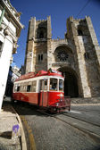 Historic classic red tram of Lisbon built partially of wood navi — Stock Photo