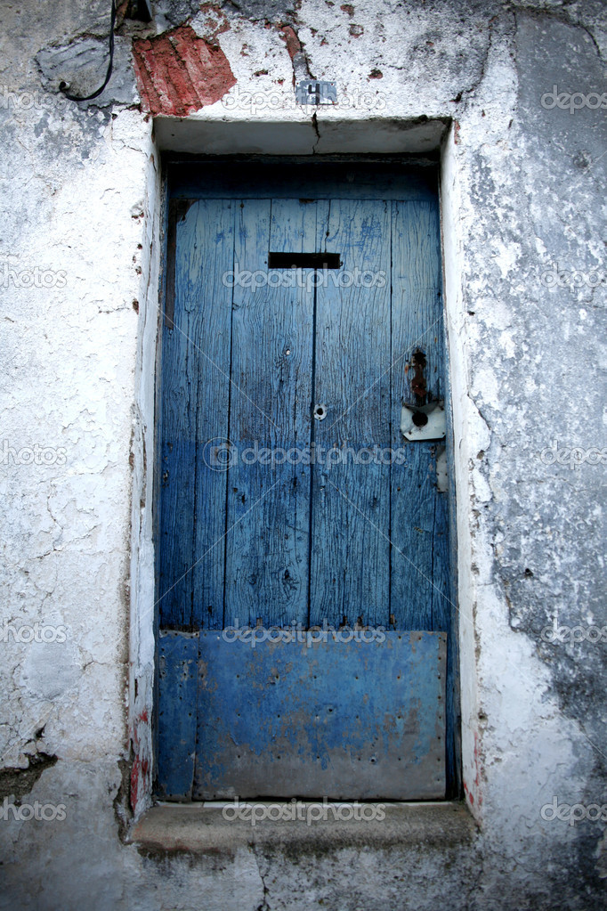 Vintage Door, blue, Portugal  Stock Photo #9644550