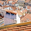 Stock Photo: Roof with chimneys, lisbon