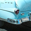 Rear view of a vintage car fin closeup. blue — Stock Photo