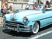 Car vintage blue in street — Stock Photo