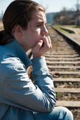 Portrait of sad young man — Stock Photo