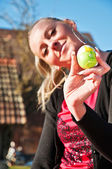 Woman and Easter egg — Stock Photo
