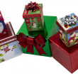 Boxed Christmas Presents on White Background — Stock Photo #10267570