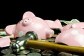 Piggy Bank Broken With Hammer — Stock Photo