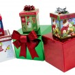 Boxed Christmas Presents on White Background — Stock Photo