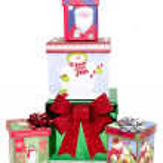 Boxed Christmas Presents on White Background — Stock Photo