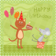 Stock Vector: Kitty and mouse at birthday party