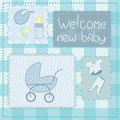 Greeting card in patchwork style for newborn boy — Stock Vector