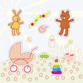 Collection of kids stickers — Stock Vector