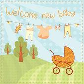 Välkommen nya baby gratulationskort — Stockvektor