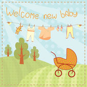 Welcome new baby greeting card — Stock Vector