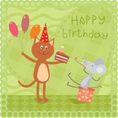 Kitty and mouse at the birthday party — Vector de stock