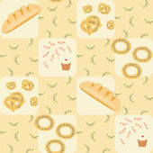 Seamless pattern with bread, croissants, bread rings, cake and candy — Stock Vector