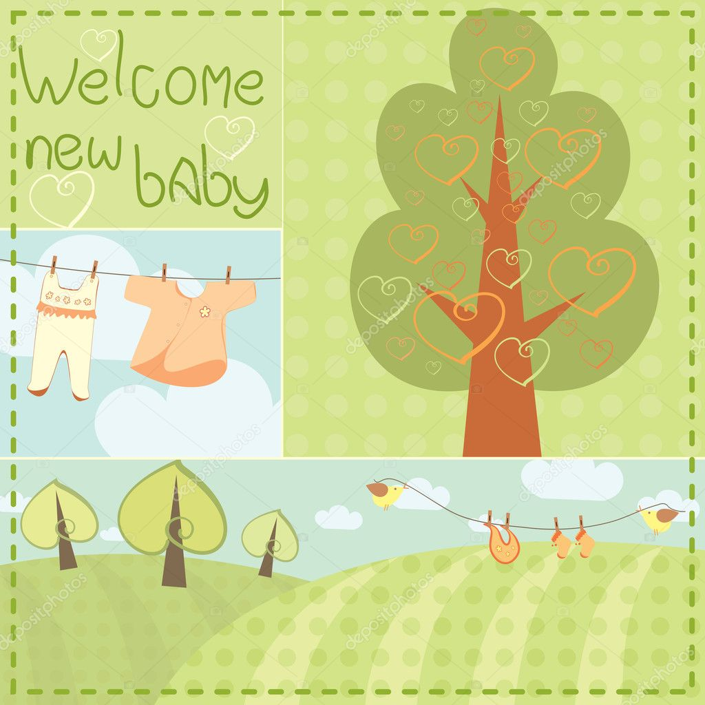 Template greeting card for newborn baby — Stock Vector #10049748