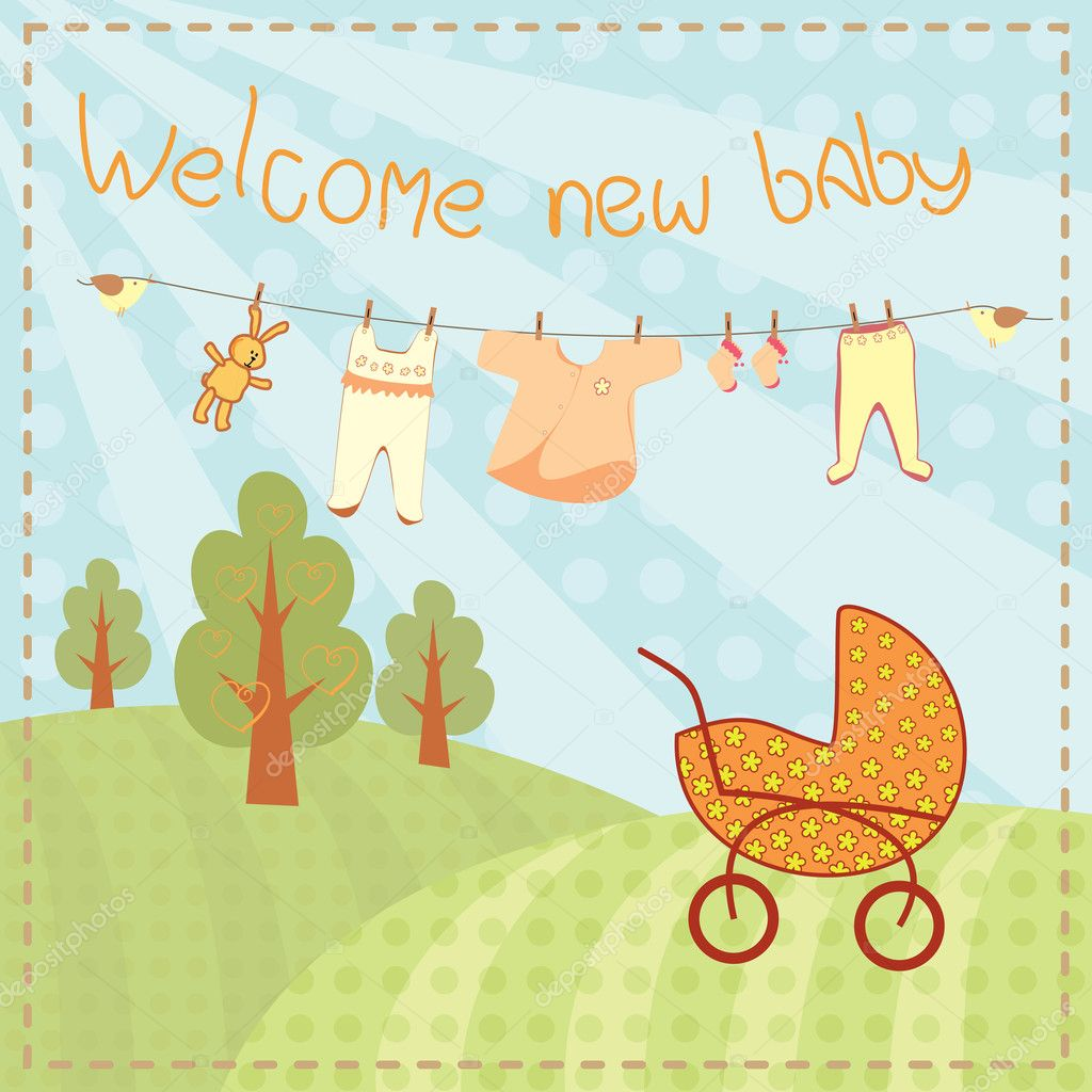 Welcome new baby greeting card  Stock Vector #10049809