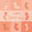 Christmas card with socks collection — Stock Vector