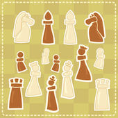 Stickers with stylized chess figures — Stock Vector
