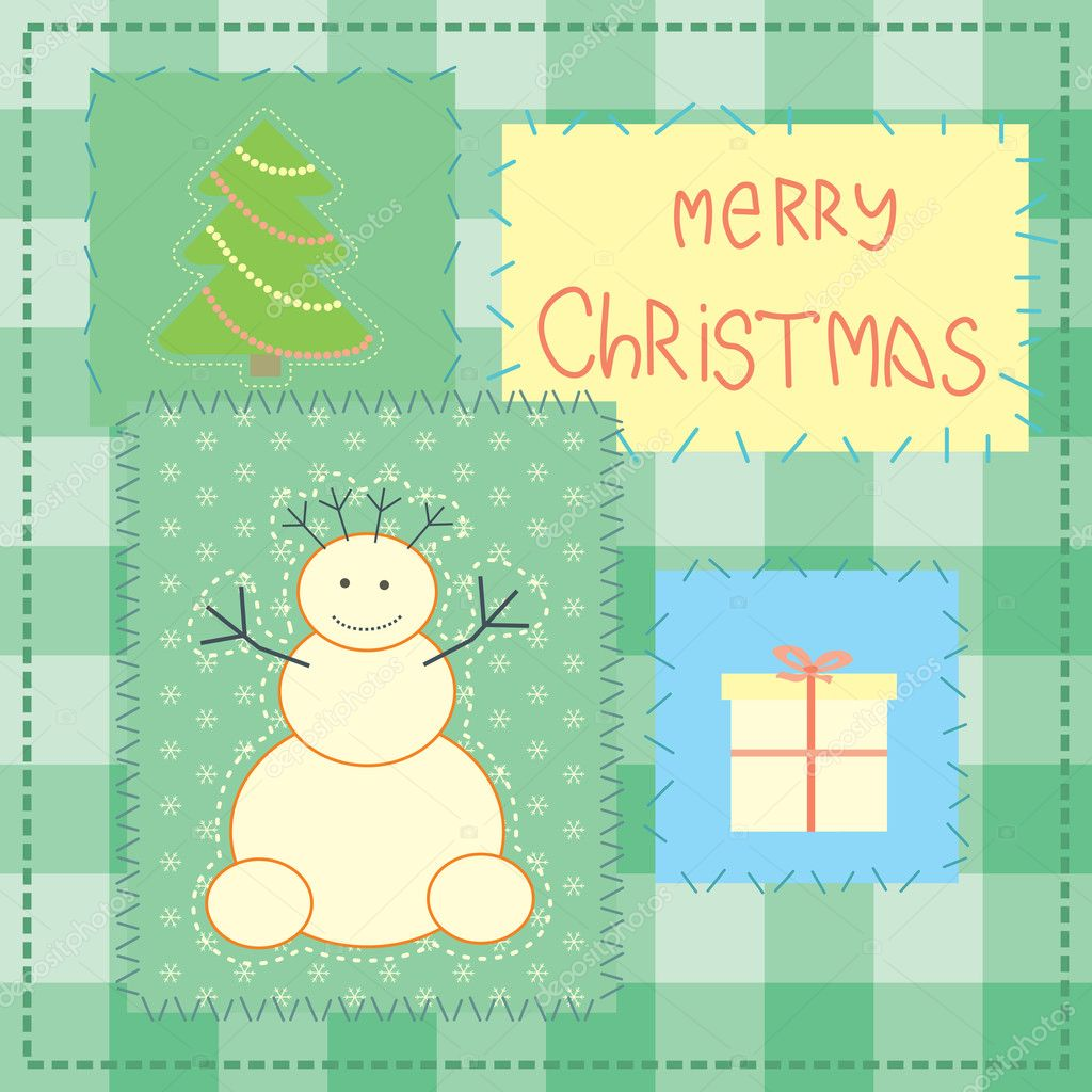 Christmas card with patchwork snowman — Image vectorielle #10050570