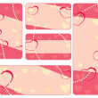 Stock Vector: Collection of valentine tags with pearls