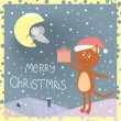 Christmas card with a cat on the roof and a mouse on the moon — Stock Vector #10535365