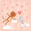 Cat and mouse falling in love — Stock Vector #10535371