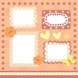 Stock Vector: Four pink scrapbooking frames