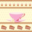Background with a cup of tea and cakes — Stock Vector #10535479