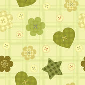 Funny little buttons seamless pattern on checkered background — Cтоковый вектор
