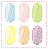 Collection of cute oval tags — Stock Vector