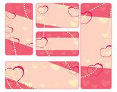 Colección de etiquetas de san valentín con perlas — Vector de stock