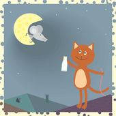 A cat on the roof and a mouse on the moon — Stock Vector