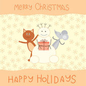 Christmas card with a cat, mouse and snowman — Stock Vector
